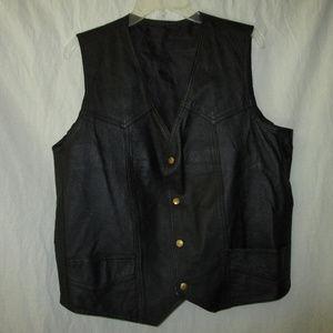 Mens L Vintage Black Leather Vest Biker Western